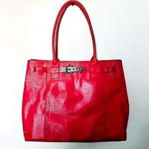 Kenneth Cole Red Leather Tote Bag